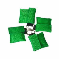 Pack of 100Pcs CPR Resuscitator Mask Keychain Ring With One way Valve Breathing Barrier For First Aid Or AED Training Green Bag