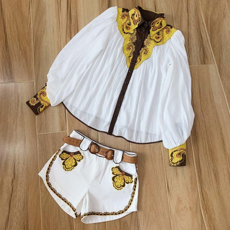 Miao Qing 2019 Summer Vintage Embroidery Women Two Piece Set  Turn-down Collar Outfit Long Lantern Sleeve Top  And Short 2piece