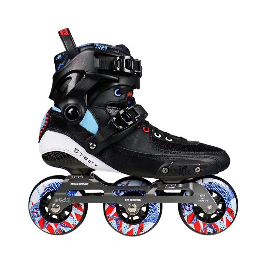 2019 Original Powerslide TAU TRINITY 3 90mm Carbon Fiber Speed Inline Skates Adult Roller Skating Shoes