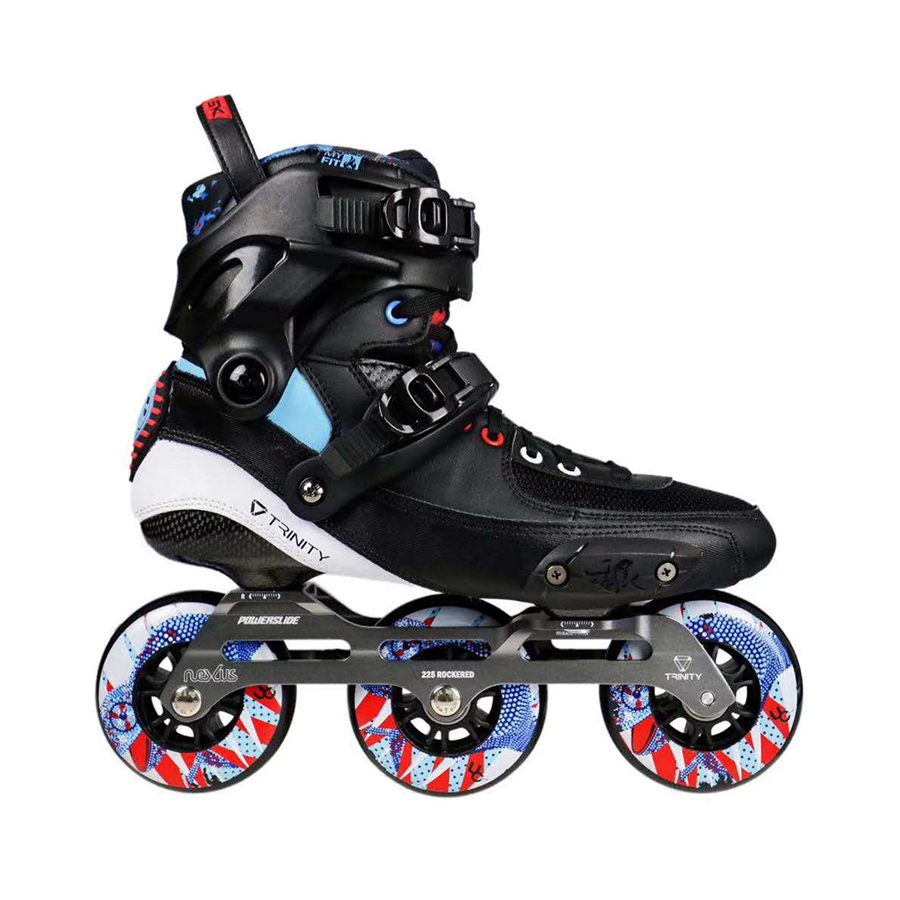 2019 Original Powerslide TAU TRINITY 3*84/90mm Carbon Fiber Speed Inline Skates Adult Roller Skating Shoes Free Skating Patines