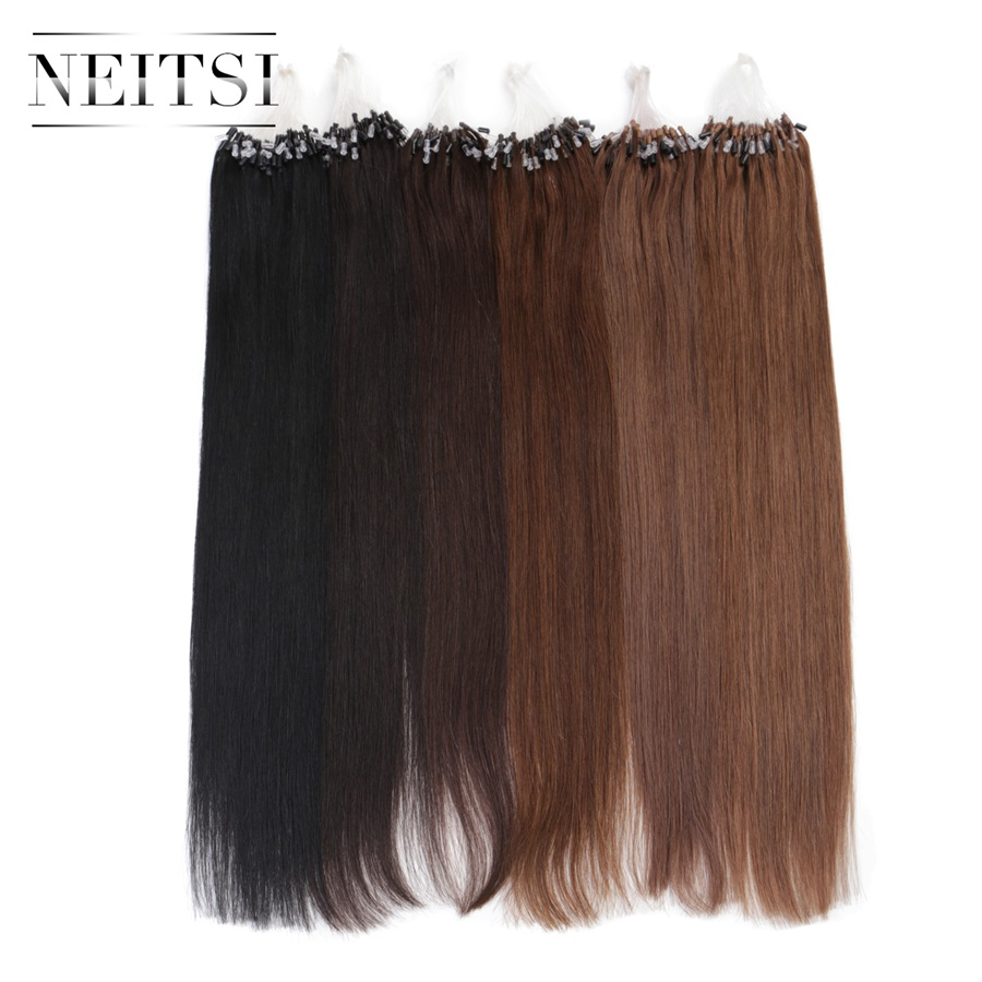 "Neitsi 16"" 20"" 24"" 1g/s 50g 100g Micro Loop Ring Links Beads Human Hair Straight Extensions 100% Indian Virgin Remy Hair Piece"