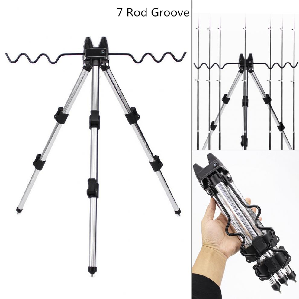 Aluminum Alloy Telescopic 7 Groove Fishing Rods Holder Collapsible Tripod Stand Sea Fishing Pole Bracket