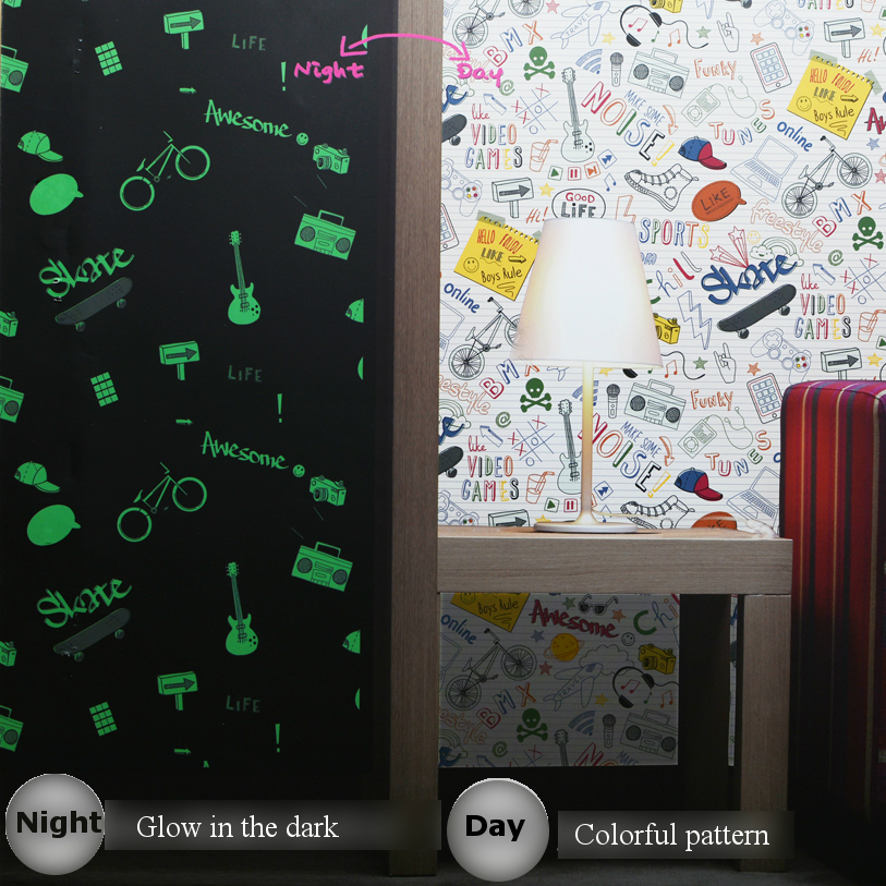 Glow in the dark wall wallpaper for boys kids room children bedroom Cartoon football sport modern feature wall paper roll custom baby wallpaper snow white and the seven dwarfs bedroom for the children s room mural backdrop stereoscopic 3d