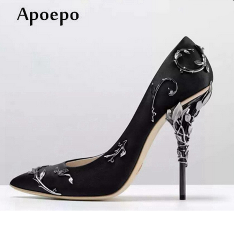 Apoepo Newest High Heel Shoes 2018 Pointed Toe Party Shoes Metal Decorations Thin Heels Shoes the Bride Wedding Shoes the new 2017 diamond red bride wedding shoes pointed the bride wedding toast with velvet like shoes fashion