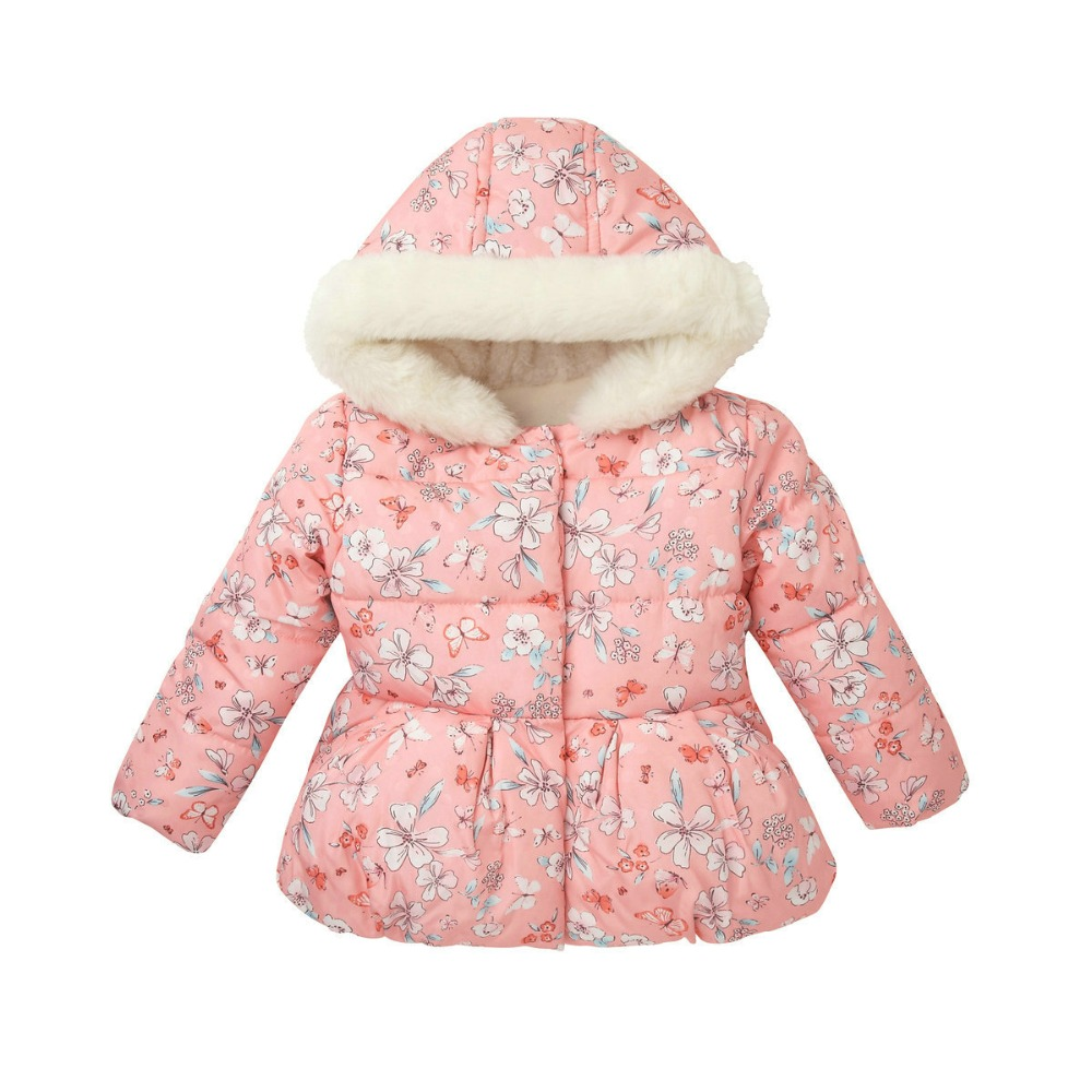Autumn Winter New Style Baby Girls Hooded Thick Rabbit Floral Pattern Cotton-padded Outerwear Kids Collar Cartoon Pretty Jackets 9m 4t baby girls 2015 new autumn winter thick wadded coat kids cotton warm hooded jackets children padded outerwear