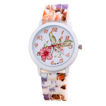 Feitong Popular Women Casual Watches Silicone Flower Printed Jelly s Analog Quartz Wrist Watch Female Clock relogio feminino Hot analog watch