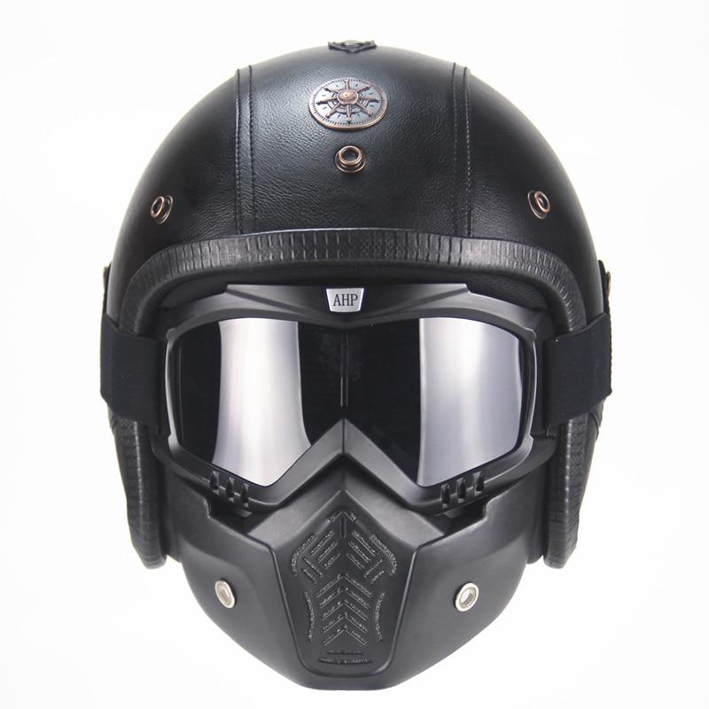 Vintage 3/4 Leder Harley Helme moto rcycle Helm open gesicht Chopper Bike helm moto rcycle helm moto moto cros mit visier