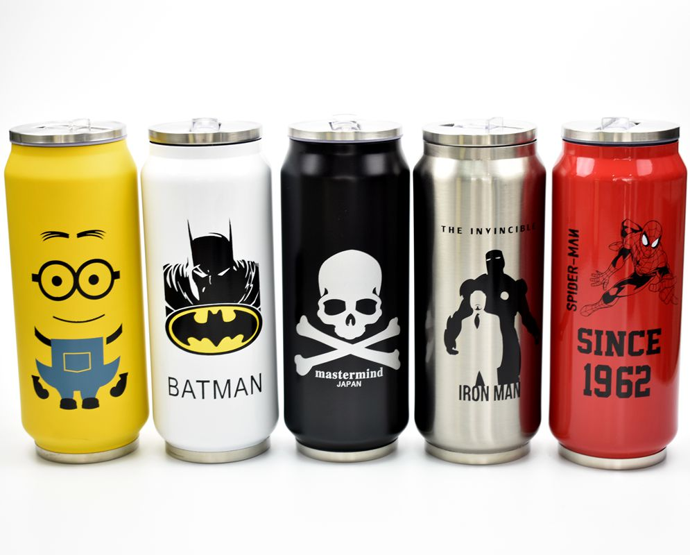500ml stainless steel bottles Cartoon Cute Cans Coke Keep-warm Spiderman Captain America Batman Superman Series Water Bottle