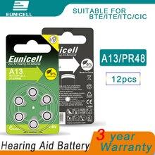12pcs EUNICELL Zinc Air Hearing Aid Batteries 13A A13 13 P13 PR48 Battery for BTE aids