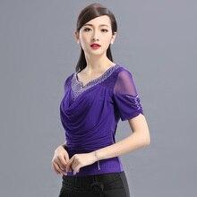 Рубашка для латинских танцев, женский топ для танцев с бриллиантами, короткий рукав, принт, ледяной шелк, топы для танцев, бальный квадратный танцевальный костюм, B-6531