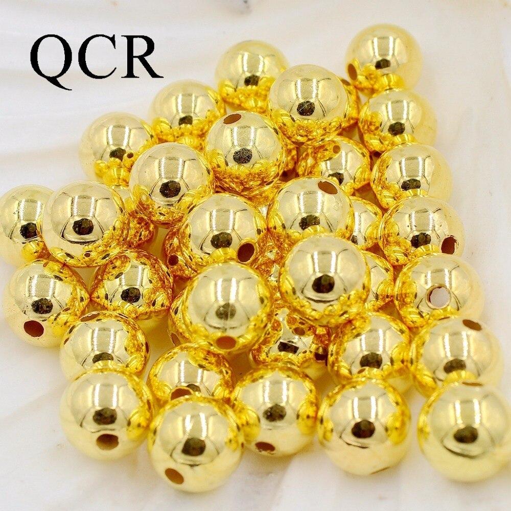 Оптовая продажа Палочки Размеры 4.6.8.10.12mm ABS Цвет Золото Имитация жемчуг круглый свободные шарики Fit DIY браслет делая