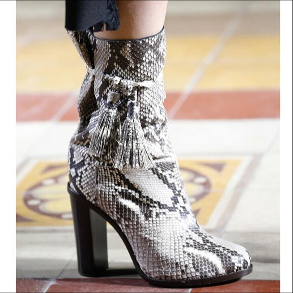 Spring Autumn boots mid-calf slip-on high chunky heels pointed toe lace-up snakeskin print women fashion boots wine white