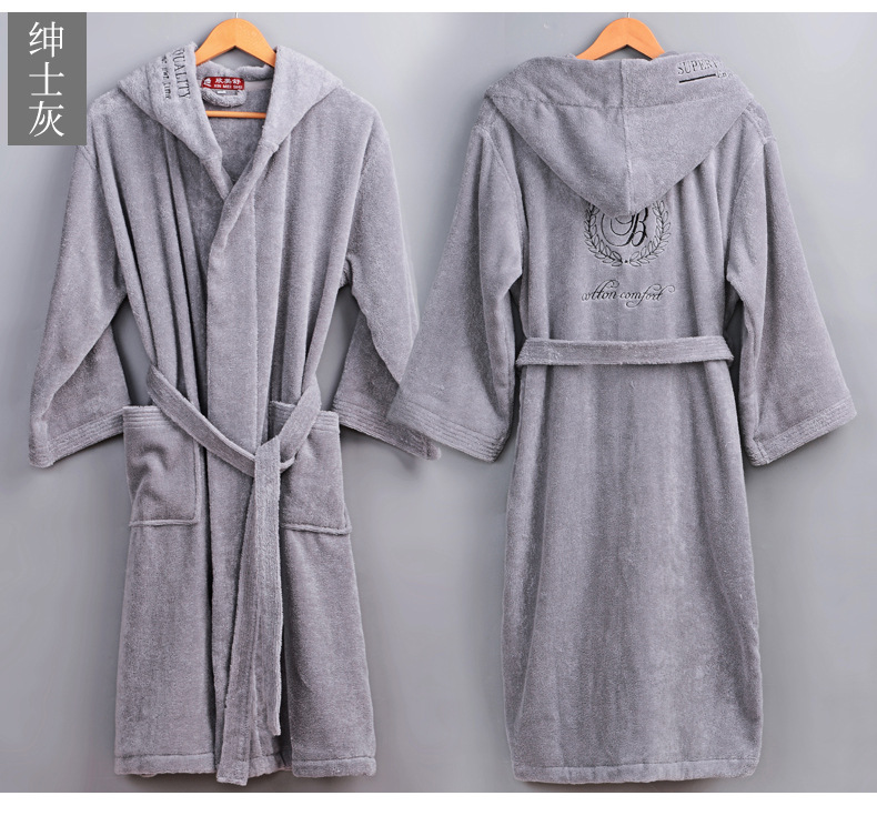 Image 2 - High Quality Men's Winter Bathrobe Male Long Thick Warm Terry Towel Dressing Gown Couple Home Hooded Bath Robes-in Robes from Underwear & Sleepwears