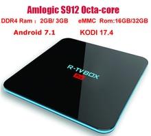 R-ТВ box Pro Android 7.1 ТВ Box Amlogic S912 Восьмиядерный Коди 17.4 DDR4 ОЗУ 3 ГБ/ 32 ГБ 3 ГБ/16 ГБ BT4.0 двойной WI-FI 2.4 г/5 г H.265 4 К 3D