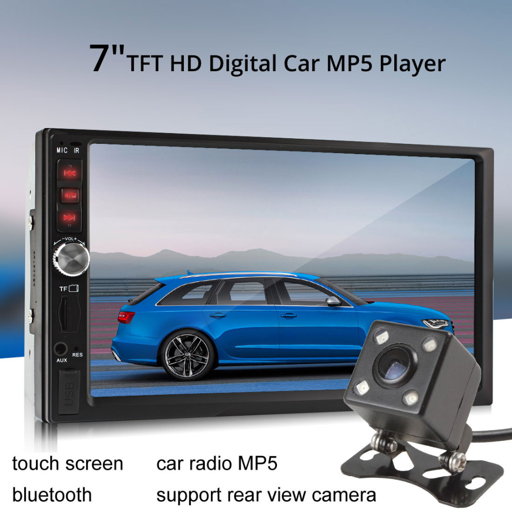 7012B 7 Inch TFT Screen Bluetooth Car Radio Stereo MP3 MP5 Audio Video Player 2-Din 12V FM AUX USB SD MMC + Auto Rearview Camera 7 inch bluetooth tft screen auto car radio mp5 player stereo 12v 2 din support audio video mp4 mp3 aux fm usb sd mmc remote