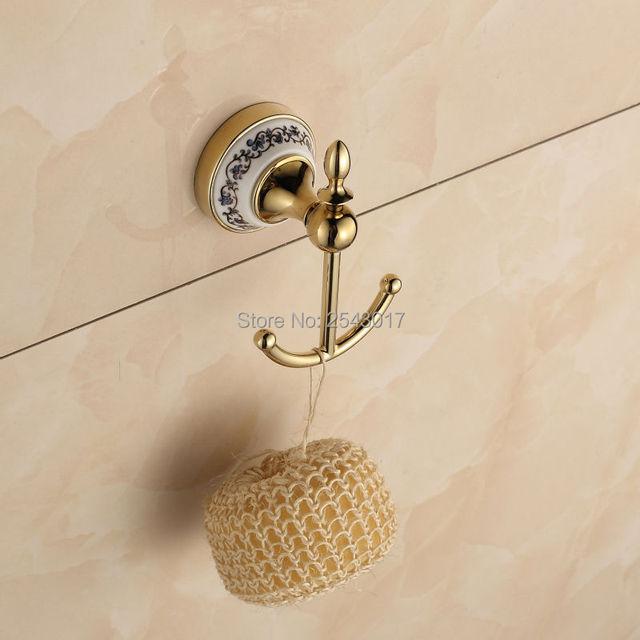 Ganchos para batas acabado de oro montado en la pared doble Ganchos baño  Accesorios cerámica percha d7ee438fd93d