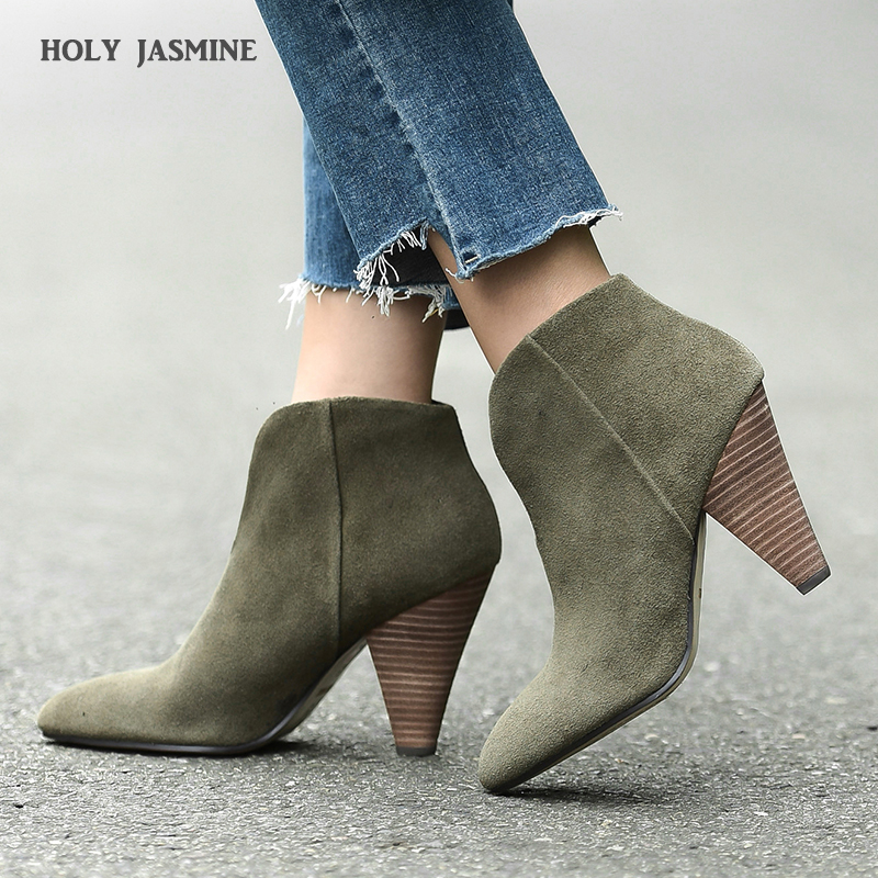 2019 Autumn Winter New Runway Suede Leather Boats High Heels Sexy Fashion Studded Ankle Boots for Women Spike Heels Women Shoes2019 Autumn Winter New Runway Suede Leather Boats High Heels Sexy Fashion Studded Ankle Boots for Women Spike Heels Women Shoes