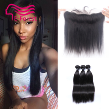 2016Lace Frontal Closure With Bundles Brazilian Virgin Hair Straight With Closure Full Frontal 13x2 With 3
