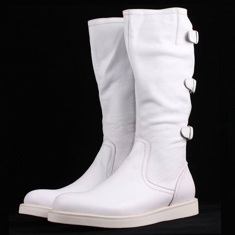 Trabalho branco Longas Qualidade Preto Montaria Branco Preto Alta Genuíno Fivela Frente Errfc Moda De Couro Homens Dos Para Botas Volta Homem A XawXCq1x