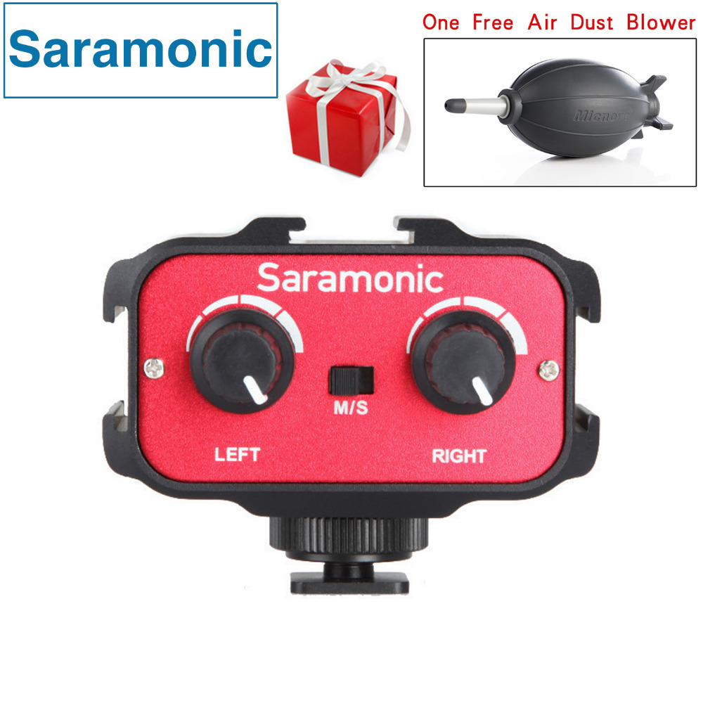 Saramonic SR-AX100 Universal Microphone Audio Adapter Mixer with Stereo & Dual Mono 3.5mm Inputs for DSLR Cameras & Camcorders saramonic 2 channel audio mixer preamp microphone adapter dual xlr 6 3mm 3 5mm inputs for iphone 7 smartphone guitar dslr camera