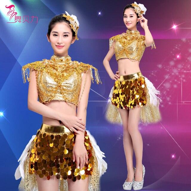 Джаз танец современные танцевальные костюм блестки яркий наряд юбка черлидинг одежды износостойкость блестка женский сексуальный 2 шт.