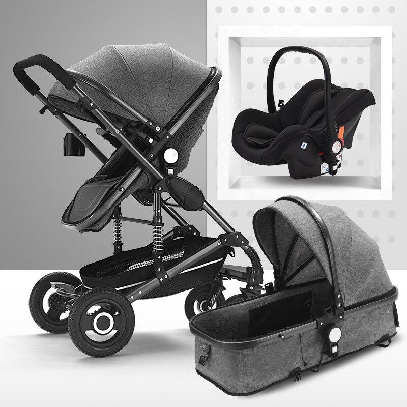 Multifonctionnel 3 en 1 bébé poussette haute paysage poussette pliante chariot or bébé poussette nouveau-né poussette - 4