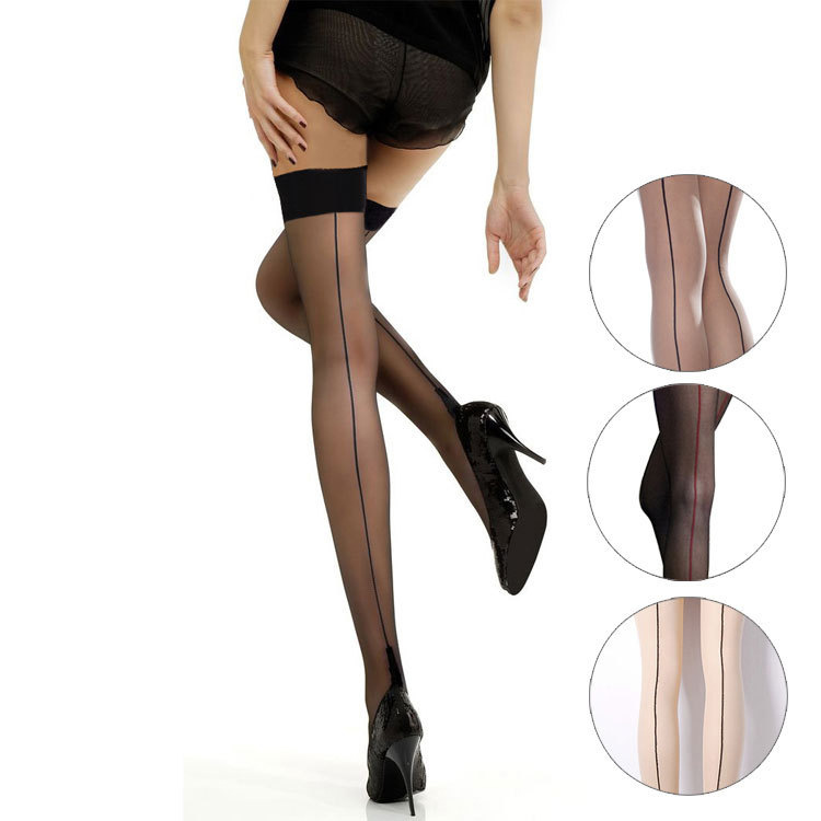 Women Back Seam Sexy Stockings Thigh High Black Sheer Lace Top Thin Over Knee High Stockings Mesh Fishnet Stockings Lingerie