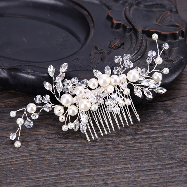 KMVEXO 2018 New European Design Leaves Wedding Hair Accessories Pearl Crystal Fl