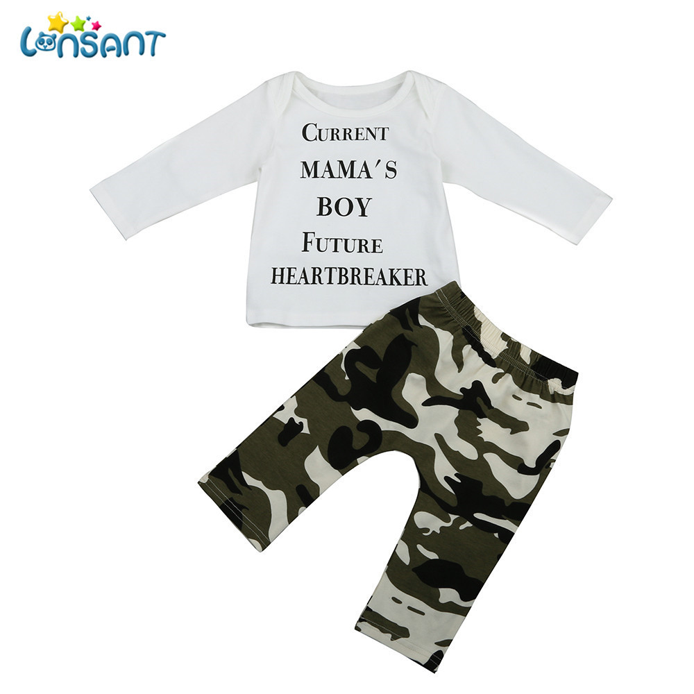 LONSANT Newborn Kids Baby Boys Outfits Spring Autumn Children Boy's Clothing Clothes Letter T-shirt Tops+Camouflage Pants 1Set newborn baby kids boys tops cool letter printing i do what i want sleeveless t shirt vest short pants 2pcs outfits set clothes
