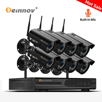 Einnov 8CH Беспроводной безопасности Камера Системы CCTV Wi-Fi 1080 P 2MP дома наружного видеонаблюдения Аудио запись NVR IP Камера P2P