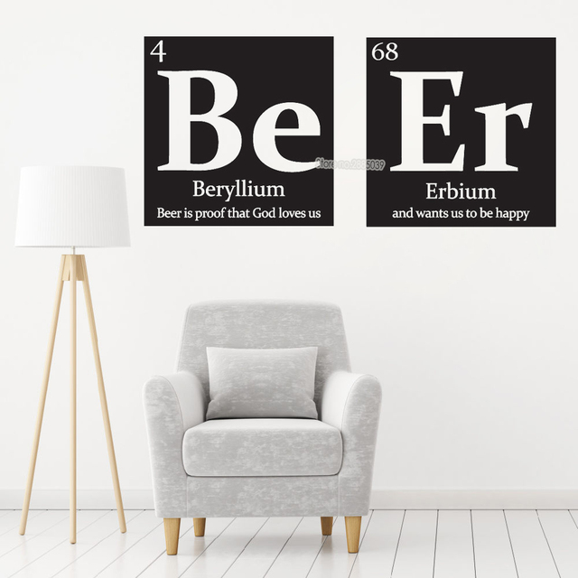 Be Er Periodic Table Wall Decal Beer With Funny Quote Stickers Vinyl Art Kitchen Livingroom