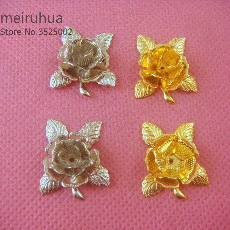 10 pieces / lot 21mm copper filigree flower Jewelry DIY Components Findings Headgear accessories
