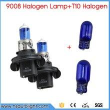 9008 H13 60/55 Вт 6500 К синий свет ламп автомобиля + из 2 предметов 501 194 W5W T10 натуральный голубой лампа для универсального использования Бесплатная доставка