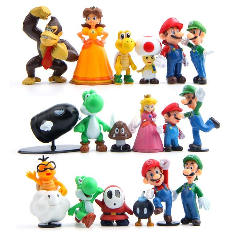 Chaud Super Mario Bros PVC Figurine Jouets 18 pièces Yoshi pêche princesse luigi type Odyssey Donkey Kong modèle de collection Enfants Jouets