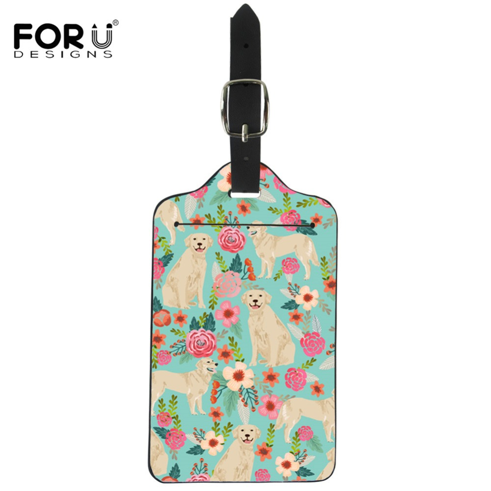 FORUDESIGNS Golden Retriever Floral Printing Suitcase Luggage Tags Leather ID Address Holder Portable Label Travel Accessories