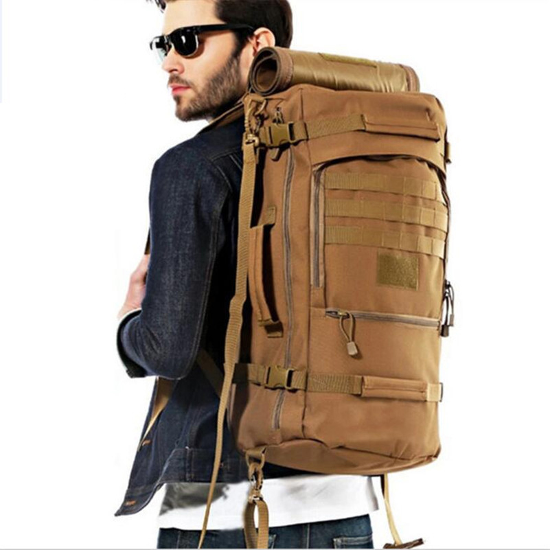 50L Large Capacity Men Travel Bag Outdoor Mountaineering Backpack Hiking Camping Water proof Nylon Bucket Shoulder