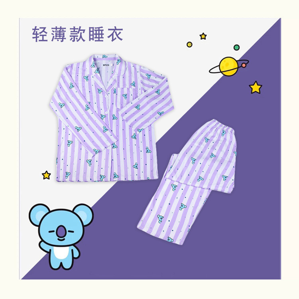 KPOP Bangtan boys Home Two-piece suit Couple wear Casual Wear men women   pajama     set     pajamas   jacket korean Cotton Cartoon 2019