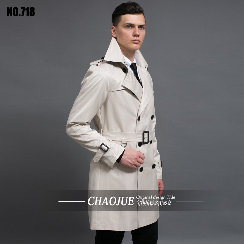 British Style Trench Coat For Men 2017 New men's Coats Spring And Autumn Double Button Over Coat Long Plus Size Outwear S-6XL