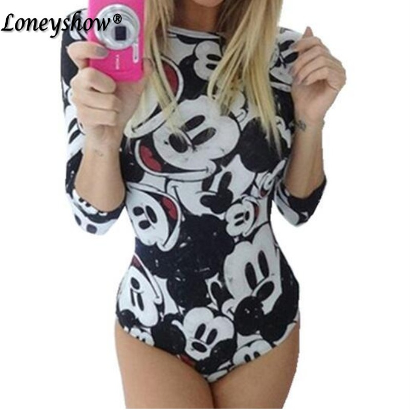 Bodysuit For Women 2018 Summer Fashion Cute Mouse Cartoon Character Printed   Jumpsuits   Slim Costume Skinny Playsuits Hot