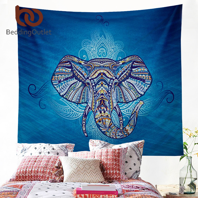 BeddingOutlet Elephant Tapestry Wall Hanging Animal Twin Hippie Tapestry Blue Boho Hippy Bohemian Dorm Decor 150x150cm Bedspread