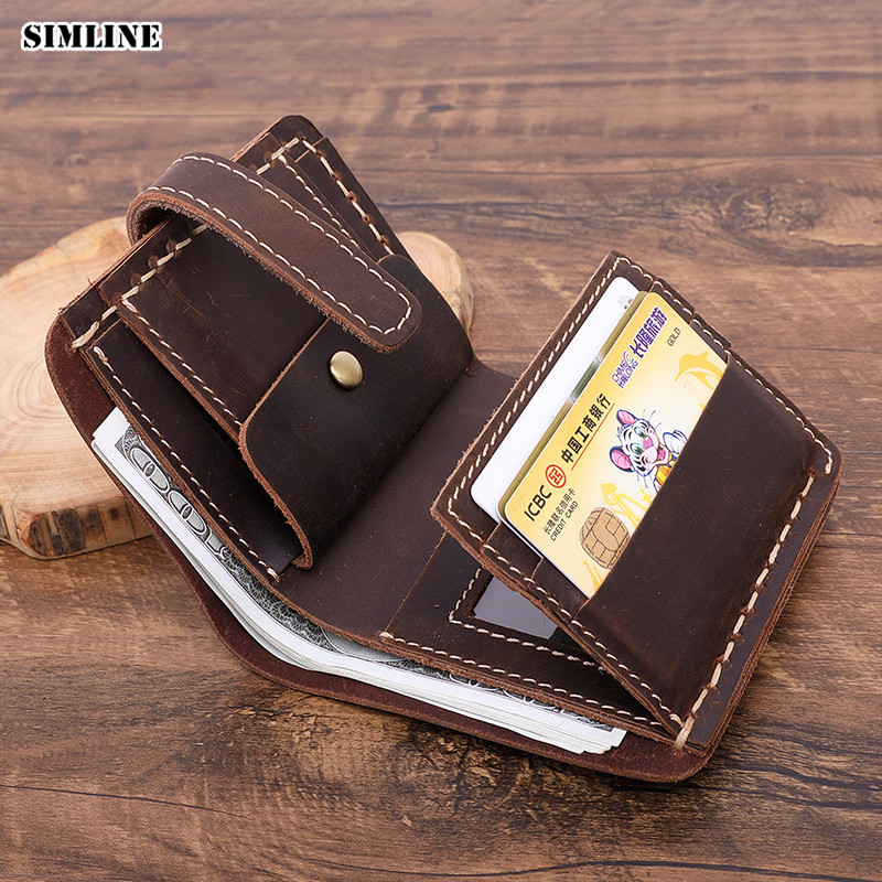 Handmade Crazy Horse Leather Men Wallet Short Vintage 100% Genuine Leather Real Cowhide Male Purse Card Holder With Coin Pocket