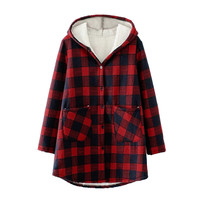 Hot Sale Women New Fashion Plaid Plus Velvet Thicken Hooded Long Sleeve Jackets Red Winter Warm Button Long Coat With Pocket