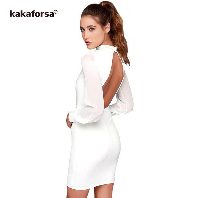 Kakaforsa Women Sexy Backless White Dress Casual Plus Size Slim Fit Bodycon Short Dress Long Sleeve O-Neck Mini Party Dresses