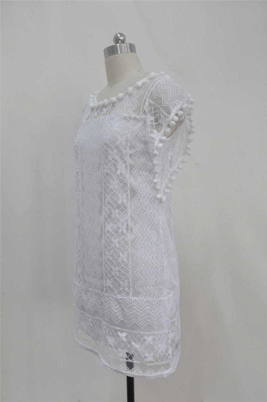 White Lace Sleeveless O-Neck Sexy Hollow Out Mini Dress 4