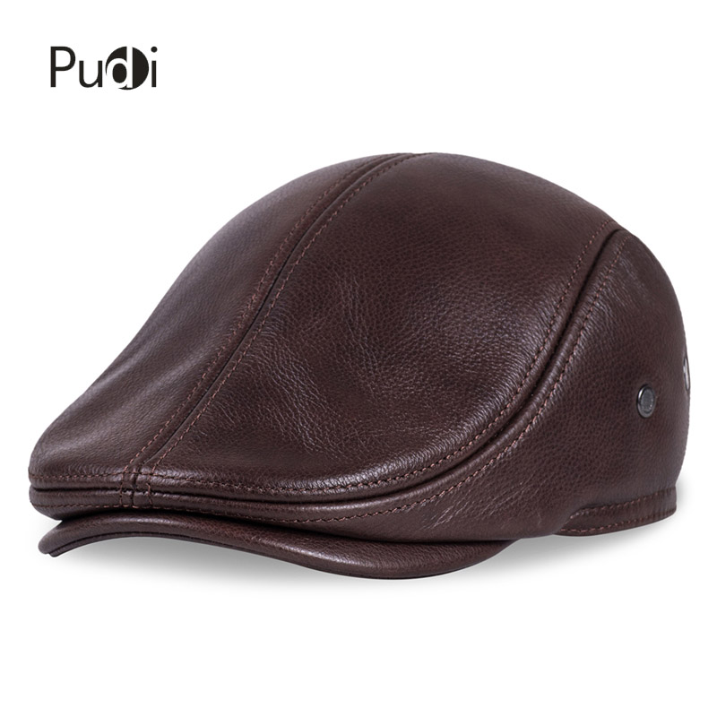 HL042 Spring Men's Real Genuine cow Leather   baseball     Cap   brand Newsboy /Beret Hat winter warm   caps  &hats men with ears ear flap