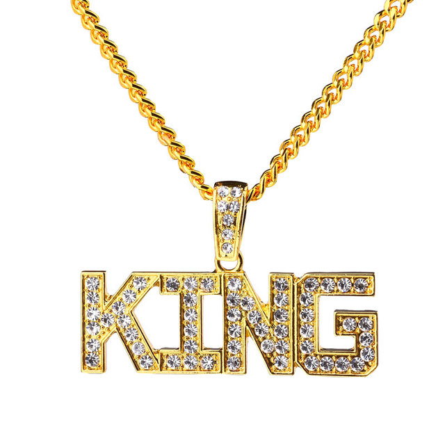 New crystal letter king pendant necklace big pendants full new crystal letter king pendant necklace big pendants full rhinestone hip hop rap jewelry 75cm cuban aloadofball Image collections