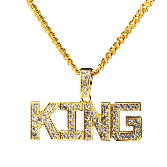 New New Crystal Letter KING Pendant Necklace Big Pendants Full  ZI89