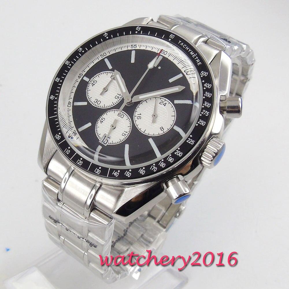 42mm biały czarny Dial Relogio Masculino chronograf ze stali nierdzewnej data 2019 nowy przyjeżdża Top marka mechanizm kwarcowy zegarek męski w Zegarki kwarcowe od Zegarki na  Grupa 1