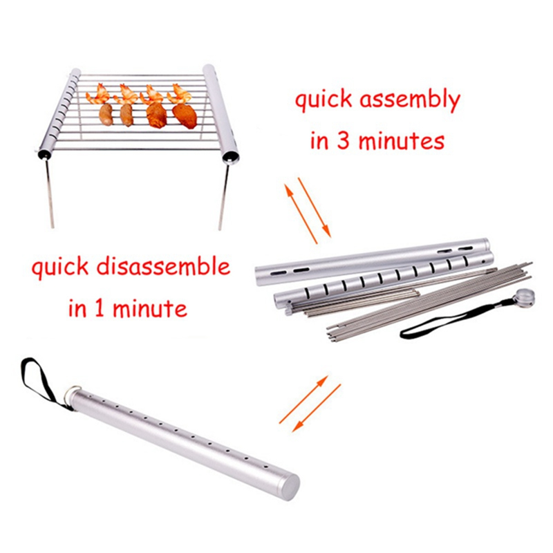 Image 3 - Outdoor Easy Disassembling Food Grade Stainless Steel BBQ Charcoal Grill Outdoor Camping Portable Barbecue Mini Cooker-in Outdoor Stoves from Sports & Entertainment