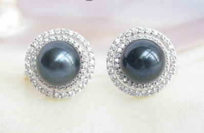 Wb002 AAA Véritable Tahiti noir ronde perles boucles d'oreilles